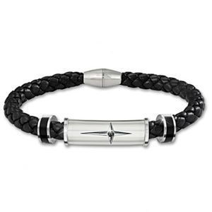 Black Sapphire Cross Bracelet Stainless Steel Men